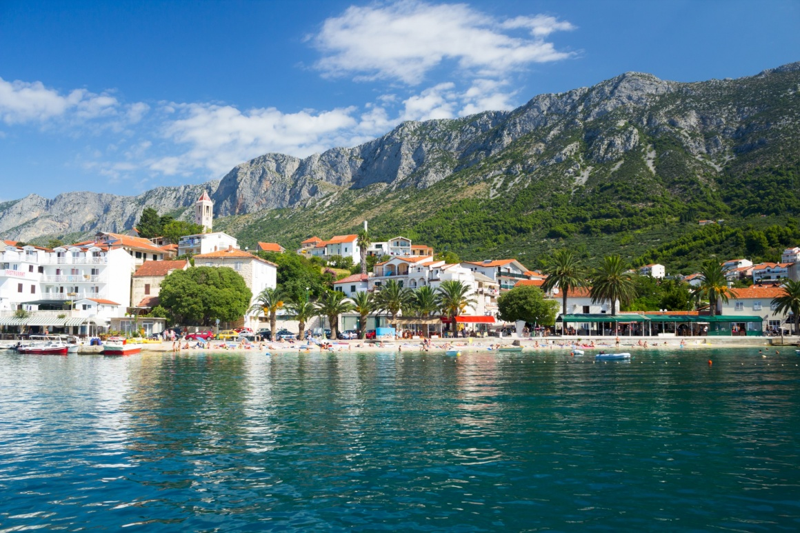 'Gorgeous view on beach and mountains behind in Gradac, Croatia' - Split
