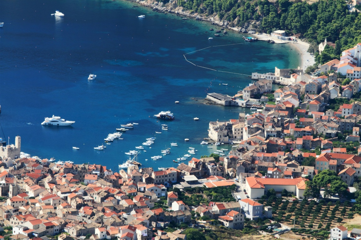 'aerial view to the Vis town in Croatia' - Split